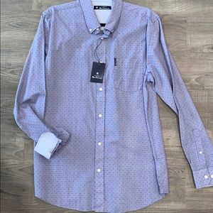 Blue dot casual button down